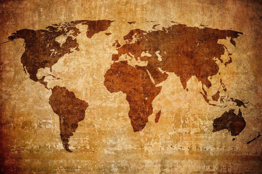 wereldkaart foto op kurk