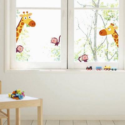 Nouvelles-Images-raamstickers-giraffe-en-aap