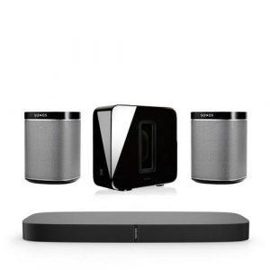 Sonos SUB + PlayBase + 2x Play:1 draadloos muzieksysteem