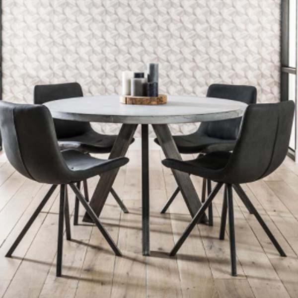 Eettafel rond met grijs blad 120x120 we love webshops de leukste webshops - Concrete effect tafel ...