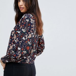 QED London High Neck Printed Blouse