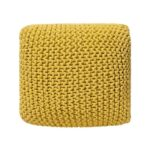 beliani conrad poef geel stof