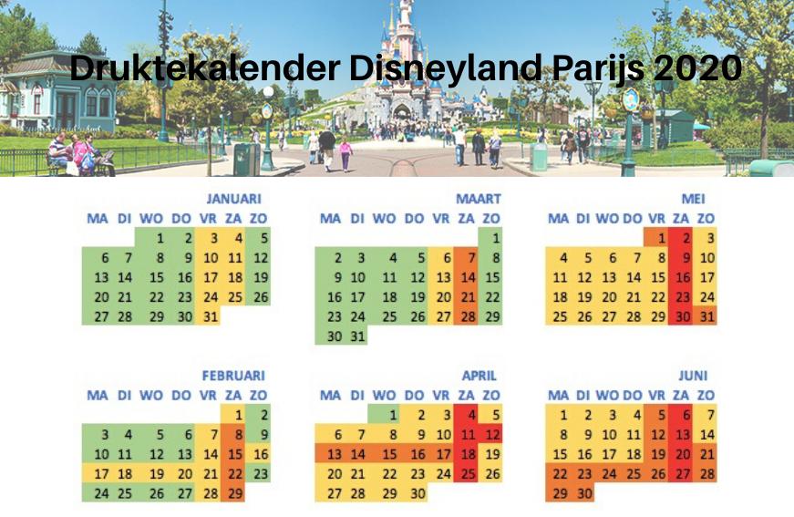 Druktekalender Disneyland Parijs 2020