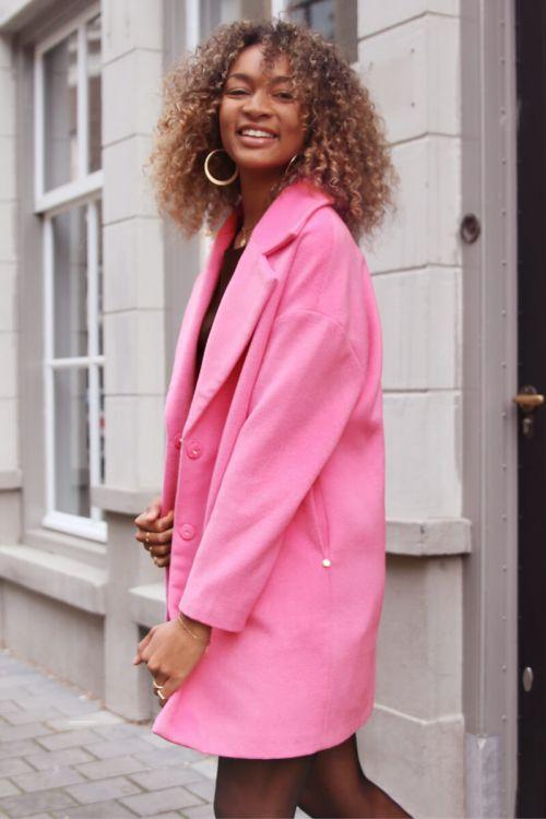 roze halflange jas